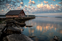 Sunrise on Anderson boathouse, Door County WI