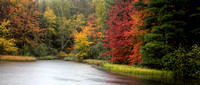 Panorama of misty fall colors on West Plum Lake, WI.